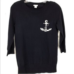 J. Crew Wool Tippi Anchor Intarsia Sweater Size XS